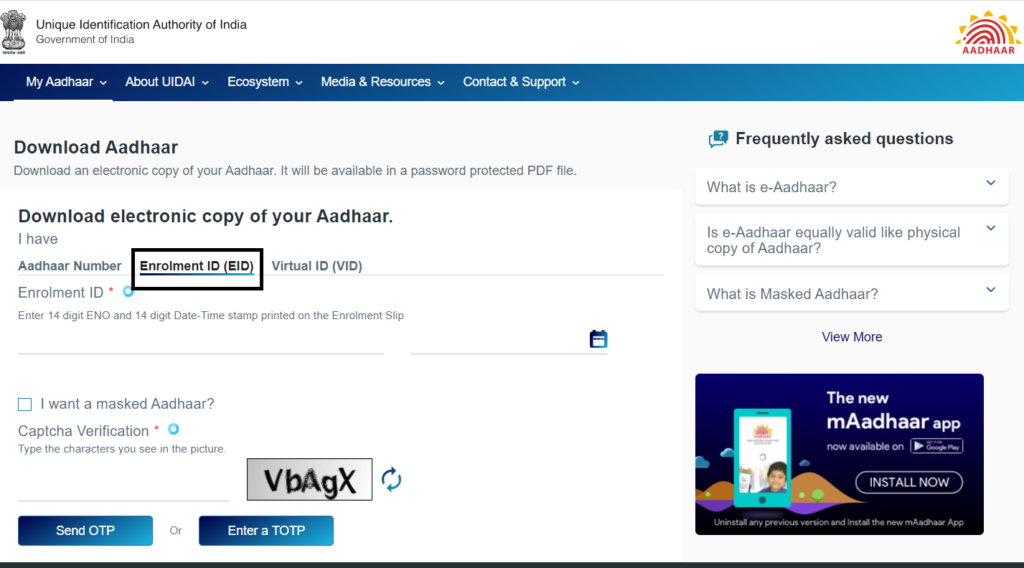 how to Download E-Aadhaar Card